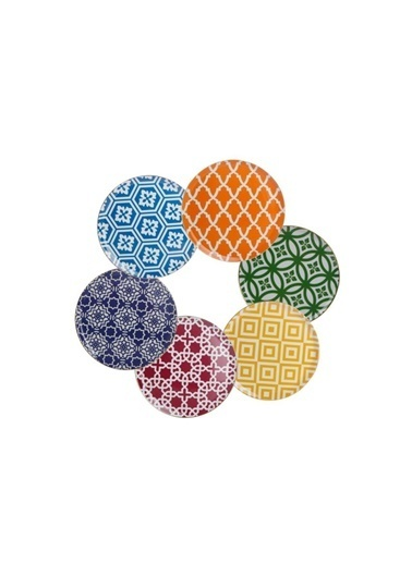 Porland Morocco 6 Renk 6'Lı Servis Tabak Renkli